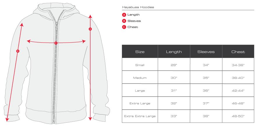 Champion hoodie size chart